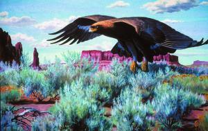 Golden Eagle Over Sage